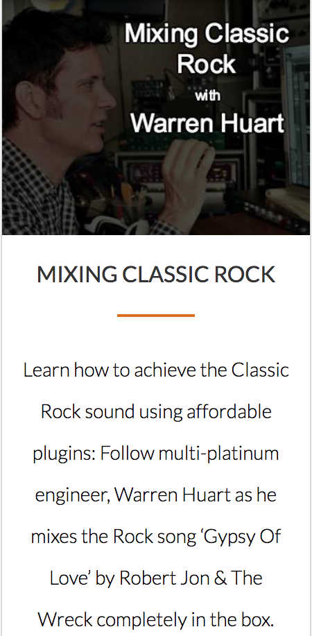 Mixing Classic Rock Course