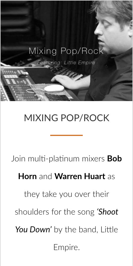 Mixing Pop/Rock Bob Horn